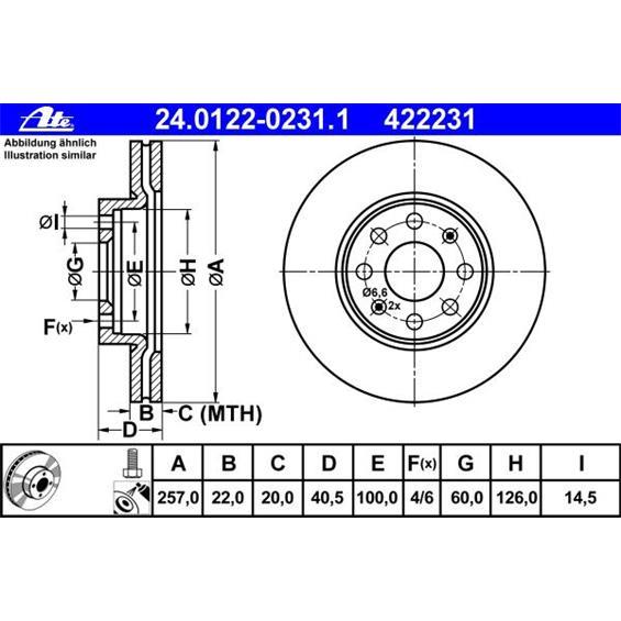 ate bremsenset bremsscheiben 257 mm bel ftet bremsbel ge. Black Bedroom Furniture Sets. Home Design Ideas